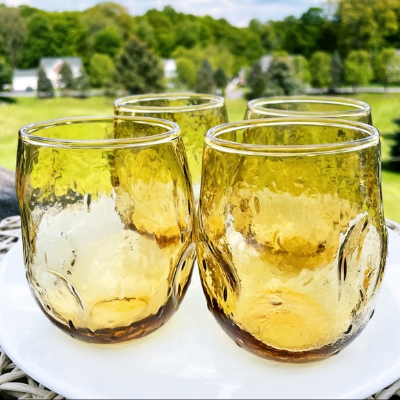 Vintage Amber Glass Roly Poly Drinking Glasses